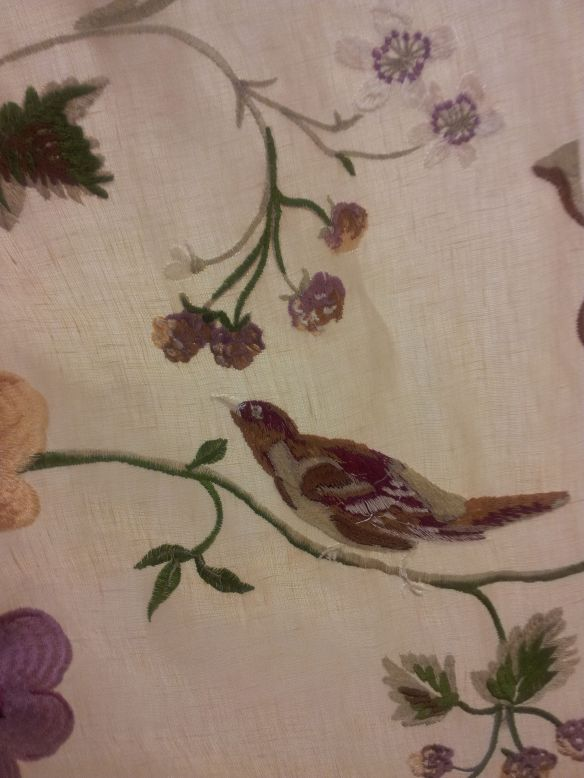 Embrodered Silk with bird motif