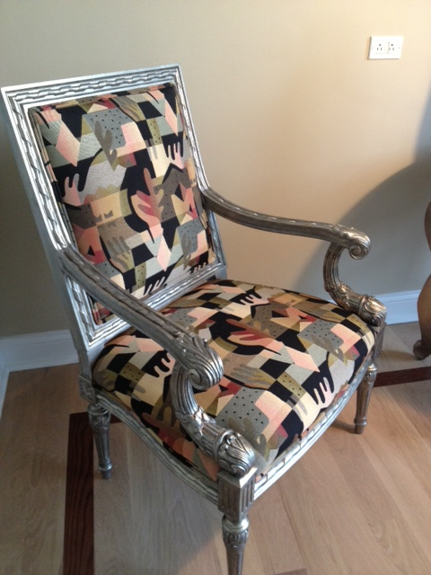 Chair after the face lift with metallic finish and new re-upholstery