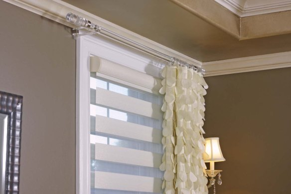 Allure shade, used as the first layer for privacy and light control. Design By Susan Gailani