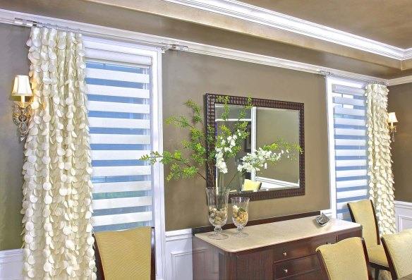The window treatment consists of two layers, Allure shades for privacy, and stationary side panels for warmth, style and sophistication.  Designed by Susan Gailani