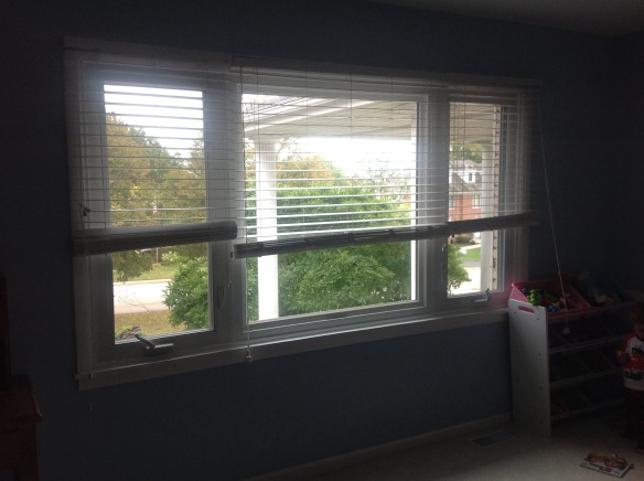 Out dated wood blinds treatment. ( Before)