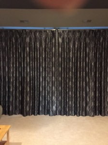 Full length custom draperies for media room