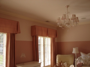 The room after installing draperies and valances