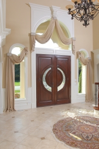 Graceful draperies for a Luxury home. Orland Park Illinois.Swags and cascades